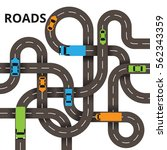 road junction concept  a lot of ... | Shutterstock .eps vector #562343359