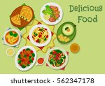 broccoli dishes icon of seafood ... | Shutterstock .eps vector #562347178
