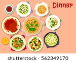 dinner dishes icon of noodles... | Shutterstock .eps vector #562349170