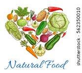 vector vegetarian food heart.... | Shutterstock .eps vector #562350010