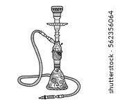 hookah smoke silhouette logo... | Shutterstock .eps vector #562356064