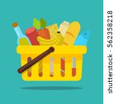 shopping basket with food and... | Shutterstock .eps vector #562358218