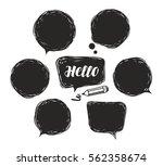 black speech bubble set. doodle ... | Shutterstock .eps vector #562358674