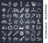 nautical icons set. hand drawn... | Shutterstock .eps vector #562359460