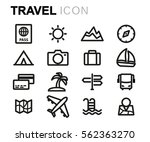 vector line travel icons set on ... | Shutterstock .eps vector #562363270
