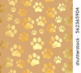 paw print seamless. traces of... | Shutterstock .eps vector #562365904