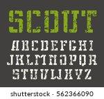 stencil plate slab serif font... | Shutterstock .eps vector #562366090