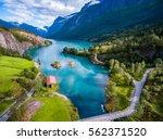 beautiful nature norway natural ... | Shutterstock . vector #562371520