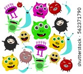 set of cute colorful cartoon... | Shutterstock .eps vector #562371790