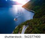farm salmon fishing in norway... | Shutterstock . vector #562377400