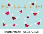 red heart with wings flying...   Shutterstock .eps vector #562377868