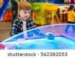 cute little boy standing and... | Shutterstock . vector #562382053