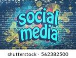 social media graffiti wall | Shutterstock . vector #562382500