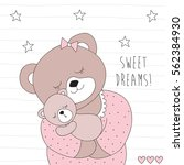 cute bear and her child vector... | Shutterstock .eps vector #562384930