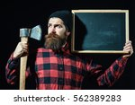 handsome man or lumberjack ... | Shutterstock . vector #562389283