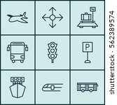 set of 9 vehicle icons.... | Shutterstock .eps vector #562389574
