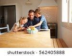 children looking at mobile... | Shutterstock . vector #562405888