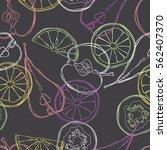 fruits  orange  lemon  apple ... | Shutterstock .eps vector #562407370