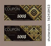 two gift vouchers in luxury... | Shutterstock .eps vector #562418413