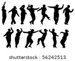 drawing silhouettes of dancing... | Shutterstock . vector #56242513