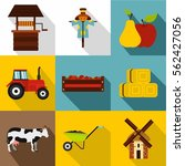 ranch icons set. flat...   Shutterstock .eps vector #562427056