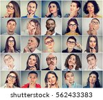 multiethnic group of thoughtful ... | Shutterstock . vector #562433383