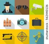 detective icons set. flat... | Shutterstock .eps vector #562440136