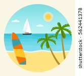 surfboards on a beach. palm... | Shutterstock .eps vector #562441378