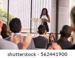 audience at seminar applauding... | Shutterstock . vector #562441900