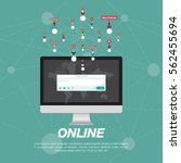 web application on computer and ... | Shutterstock .eps vector #562455694