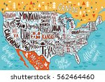 usa map with states   pictorial ... | Shutterstock .eps vector #562464460