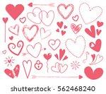 deep pink doodle heart designs... | Shutterstock . vector #562468240