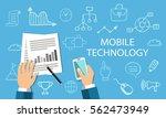 mobile technology concept. flat ... | Shutterstock .eps vector #562473949