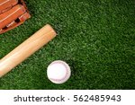baseball  glove  ball and bat...