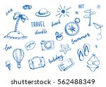 set of hand drawn travel doodle.... | Shutterstock .eps vector #562488349