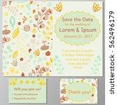 wedding invitation card  thank... | Shutterstock .eps vector #562496179