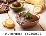 raw vegan pudding with avocado... | Shutterstock . vector #562500673