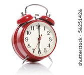 Red Old Style Alarm Clock...