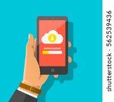 man's hand holding smartphone... | Shutterstock .eps vector #562539436