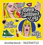 blonde girls  hand lettering... | Shutterstock .eps vector #562544713