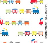 seamless watercolor toy trains...   Shutterstock .eps vector #562550644