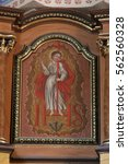Small photo of MARTINSKA VES, CROATIA - JUNE 03: Saint Michael altarpiece in Parish Church of Saint Martin in Martinska Ves, Croatia on June 03, 2011.