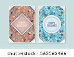 cute vintage doodle floral... | Shutterstock .eps vector #562563466