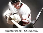 hockey player with cruel facial ... | Shutterstock . vector #56256406