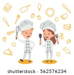 happy kids is cooking and... | Shutterstock .eps vector #562576234