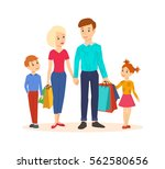 shopping people. young family... | Shutterstock .eps vector #562580656