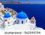beautiful oia town on santorini ...   Shutterstock . vector #562590754
