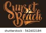 sunset beach brush script... | Shutterstock .eps vector #562602184