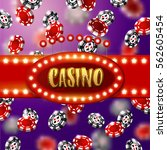 casino sign with  glowing star... | Shutterstock .eps vector #562605454