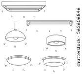 vector set of ceiling lamp | Shutterstock .eps vector #562606846